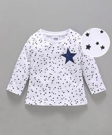 Simply Full Sleeves Tee Allover Star Print - White & Navy