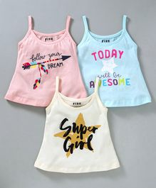Fido Sleeveless Slips Text Print Pack of 3 - Pink Blue Off White