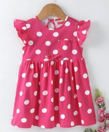 Babyhug Short Flutter Sleeves Polka Dotted Cotton Frock - Pink