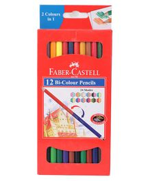 Faber Castell Bi Colour Pencils Red - Pack Of 12