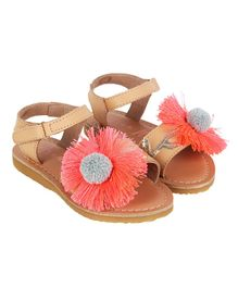 Aria+Nica Flower Applique Velcro Closure Sandals - Orange