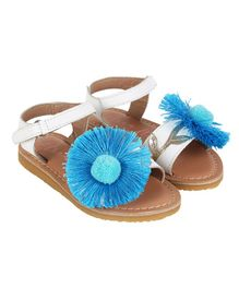 Aria+Nica Flower Applique Velcro Closure Sandals - Blue