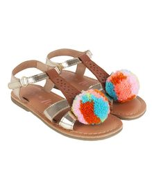 Aria+Nica Pom Pom Applique Velcro Closure Sandals - Brown