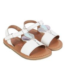 Aria+Nica Velcro Closure Balloon Applique Sandals - White
