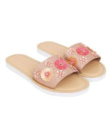 Aria+Nica Glitter Finish Flower Applique Slip-Ons - Light Pink