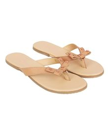 Aria+Nica Bow Applique Slip-Ons - Light Brown