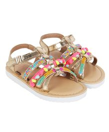 Aria+Nica Velcro Closure Multi Beads Design Sandals - Multi Color
