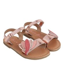 Aria+Nica Velcro Closure Lotus Applique Sandals - Pink