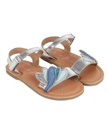 Aria+Nica Velcro Closure Lotus Applique Sandals - Silver