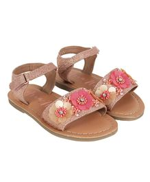 Aria+Nica Velcro Closure Flower Applique Sandals - Pink