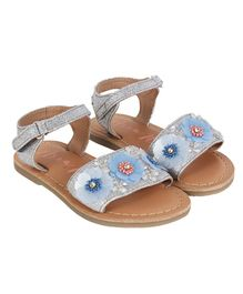 Aria+Nica Velcro Closure Flower Applique Sandals - Blue