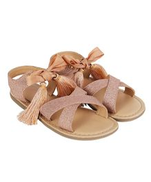 Aria+Nica Glitter Finish Tassel Work Sandals - Peach