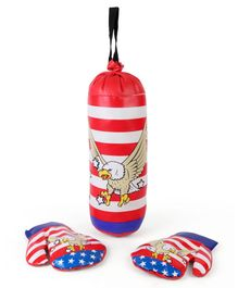 Boxing Set With Eagle Print - Red & Blue