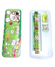 Stationery Set Bunny Print Green  - 6 Pieces