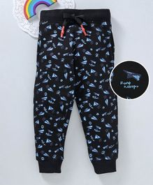 Bonkerz Paper Airplane Print Full Length Lounge Pants - Black