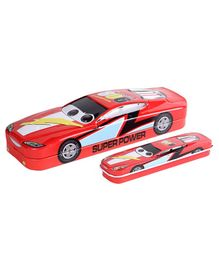 Car Shaped Pencil Box With Mini Box - Red