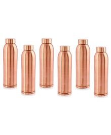 Hazel Vaman Copper Water Bottle Set of 6 - 900 ml Each