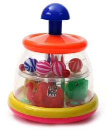 Luvely Push N Spin Elephant Toy - Orange And Blue