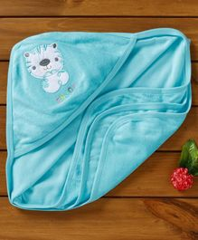 Simply Hooded Towel Tiger Patch - Teal Blue