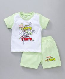 Cucumber Half Sleeves Tee & Shorts Cars Print - Light Green