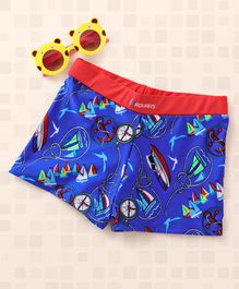 Rovars Swimming Trunks Boat Print  - Blue & Red