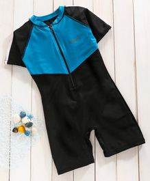 Rovars Half Sleeves Legged Swimsuit - Black Blue