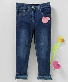 e7aa8dbb830c Babyhug Elastic Waist Full Length Jeans Love Patch - Dark Blue