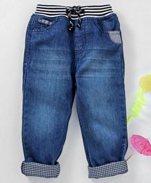 Babyhug Full Length Jeans With Drawstring - Dark Blue