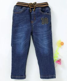 Babyhug Full Length Jeans With Elasticated Waist 10 Embroidered - Navy Blue