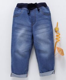 Babyhug Ankle Length Ribbed Jeans - Light Blue