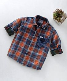 Dapper Dudes Full Sleeves Checkered Shirt - Orange & Blue