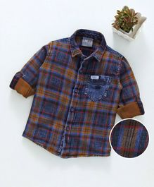 Dapper Dudes Checks Full Sleeves Shirt - Blue Brown