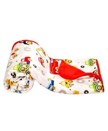 Mee Mee Multipurpose Soft Baby Blanket Vehicle Print - Red White