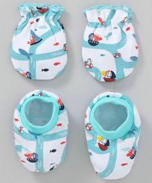 Babyhug Organic Cotton Mittens and Booties Set Fish Print - Blue