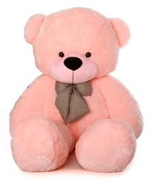 Frantic Teddy Bear Soft Toy With Neck Bow Tie Pink - Height 91 cm