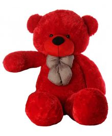 Frantic Teddy Bear Soft Toy Red With Neck Tie - Height 121 cm