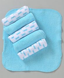 Babyhug Cotton Wash Clothes Printed Pack of 6 - Blue White