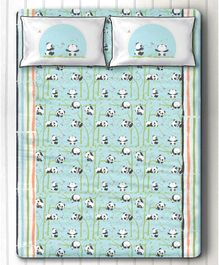 Panda Village Double Bedsheet With Two Pillow Covers - Blue
