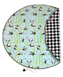 Silverlienen Panda Village Quilted Cotton Playmat Cum Storage Bag - Blue