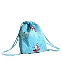 Silverlinen Quilted Cotton Drawstring Bag Sea & Ships Print Blue - Height 11.41 Inches