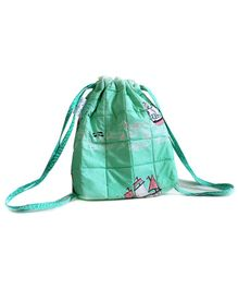 Silverlinen Quilted Cotton Drawstring Bag Sea & Ships Print Green - Height 11.41 Inches