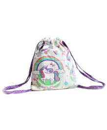 Silverlinen Quilted Cotton Drawstring Bag Unicorn and Rainbows Print Mullticolor - Height 11 inches
