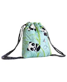 Silverlinen Quilted Cotton Drawstring Bag Panda Village Print Green - Height 11 inches