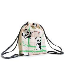 Silverlinen Quilted Cotton Drawstring Bag Panda Village Pink - Height 11 inches