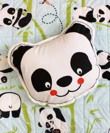 Silverlinen Panda Village Shape Cushion - White