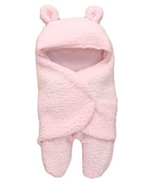 My Newborn Animal Shape Hooded Swaddle Wrapper - Pink