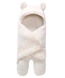 My Newborn Animal Shape Hooded Swaddle Wrapper - White