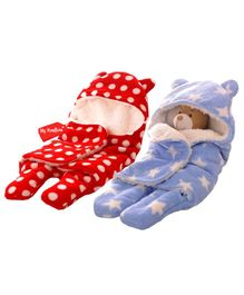 My Newborn Double Layer Hooded Swaddle Wrapper Pack of 2 - Red & Blue
