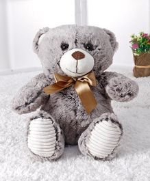 Starwalk Teddy Bear Plush With Satin Bow Grey - Height 25 cm