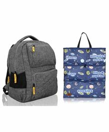 Lost & Found Water Proof Diaper Backpack With Organiser Pouch - Yellow Grey